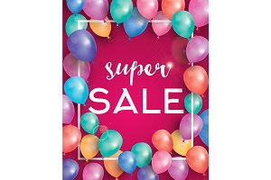 Super sale poster on red background