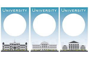 Set of university study banners