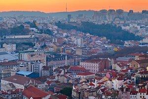 Lisbon at sunset, Portugal