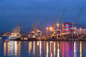 Commercial sea port at dusk