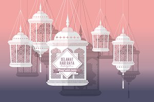hari raya lanterns vector