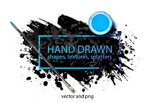 Hand drawn shapes, splatters.