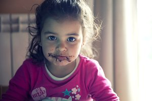 Little girl and dirty mouth