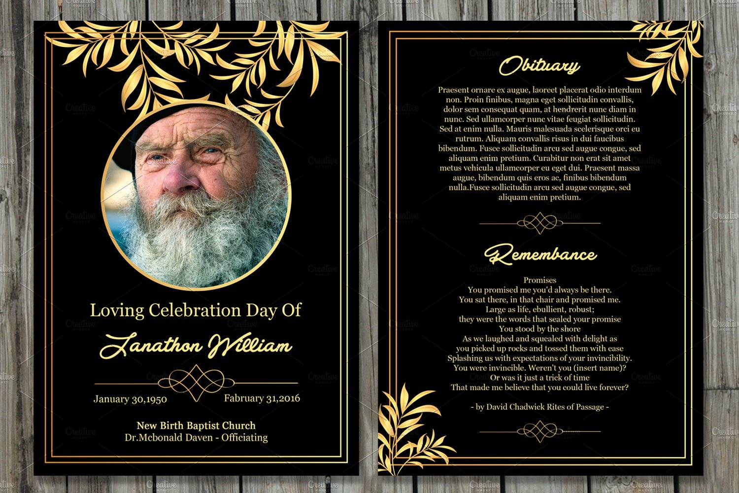 funeral memory cards free templates - funeral program card template v503 brochure templates