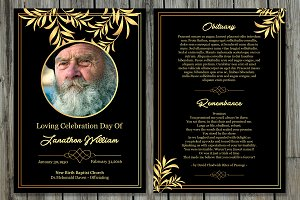 Funeral Program Card Template-V503