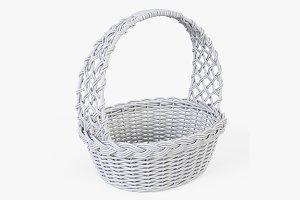 Wicker Basket 04 White Color