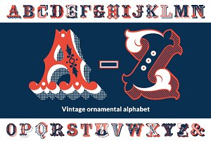 Vintage ornamental alphabet