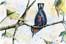 Bird on tree, watercolor and vector
