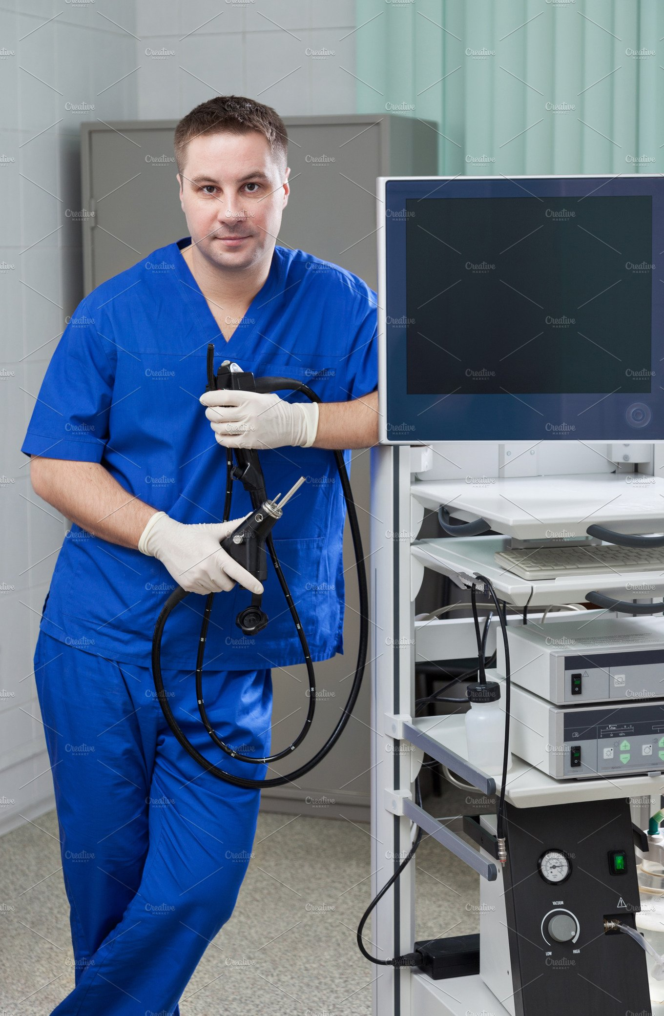 Endoscopic Room: Male Doctor In Endoscopic Room