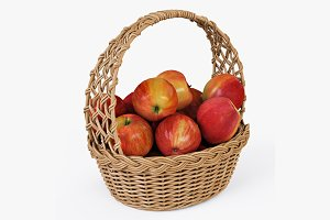 Wicker Basket 04 Natural with Apples