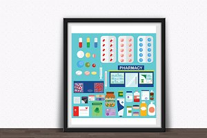 Pharmacy and medical icons, elements