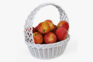 Wicker Basket 04 White with Apples
