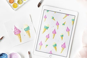 Tablet with ice-cream print