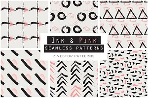 Ink & Pink Seamless Patterns