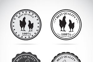 Set of vector chicken labels