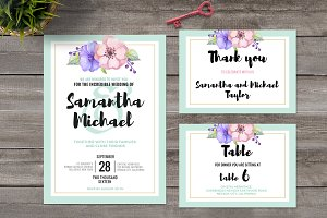 Pastel Wedding Invitation Set