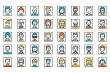 Set of people avatars on white