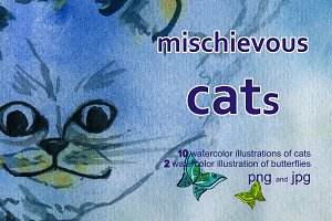 mischievous cats and butterflies