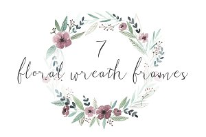 7 watercolor floral wreath frames