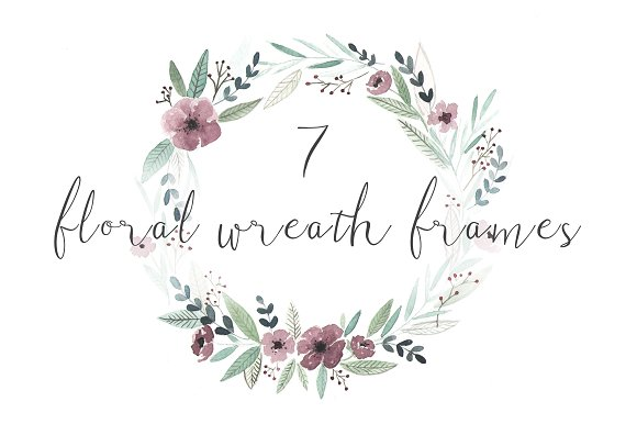 7 watercolor floral wreath frames illustrations - Wreath Frames