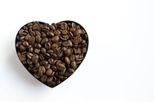 Coffee beans shaped heart