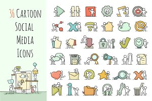 Cartoon social media icons