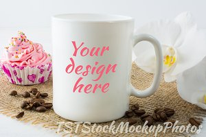Mug mockup with muffin and coffee