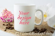 Mug mockup with muffin and coffee