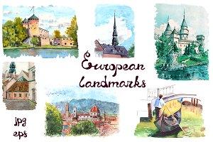 Watercolor European landmarks