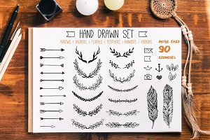 Hand drawn elements set
