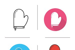 Oven mitt icons. Vector
