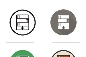 Bookcase icons. Vector