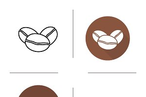 Coffee beans icons. Vector