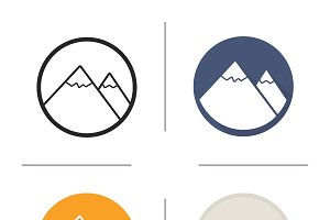 Mountain icons. Vector