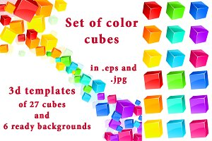 Set of color 3d cubes & backgrounds