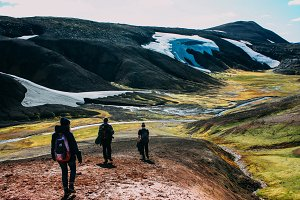 Hiking in Landmannalaugar, mountain landscape with snow in Iceland