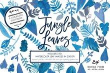 Watercolor Blue Jungle Leaves