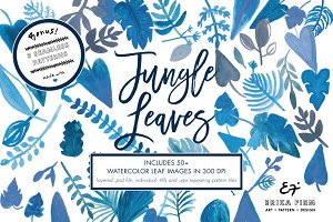 Watercolor Blue Jungle Leaves