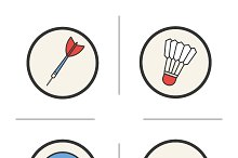 Sports equipment icons. Vector