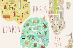 New York, London and Paris city map