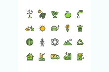 Ecology Colorful Outline Icon Set.
