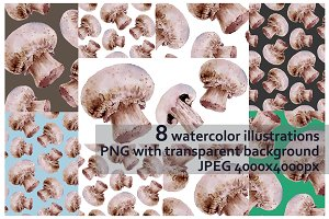 Watercolor patterns with champignon