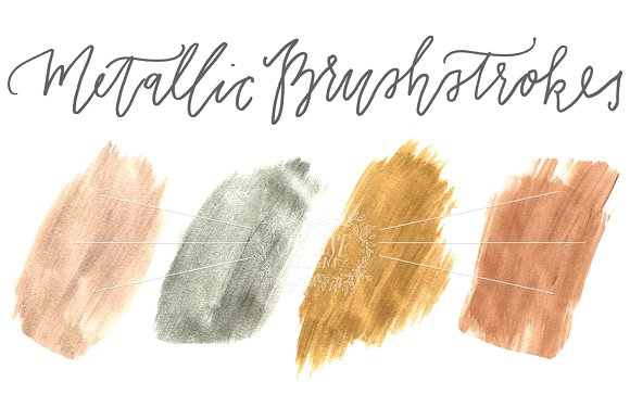 Metallic Brushstrokes (Pack of 4)