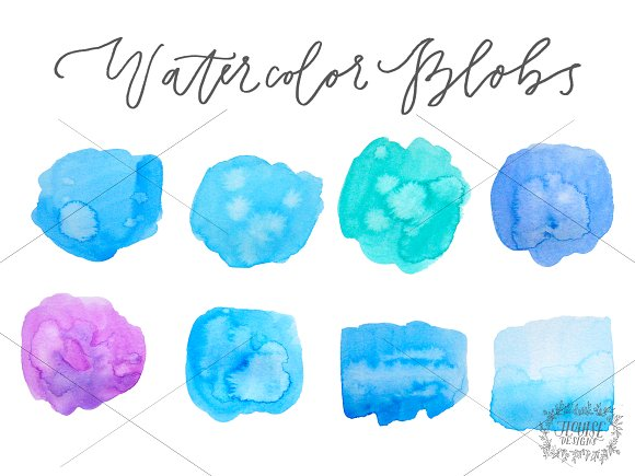 Watercolor Blobs (Pack of 8) in Graphics