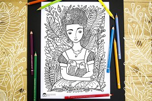 Girl with Parrots Coloring Page