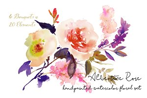 Albertine Rose-Watercolor Floral Set