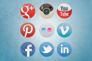 Social Media Icons - Diagonal