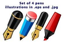 Set of 4 pens illustrations