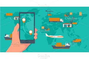 Phone mobile app cargo, logistic