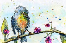 Watercolor bird sitting on a tree